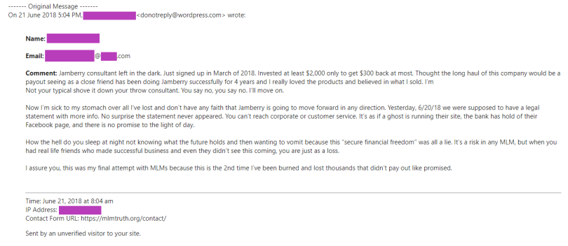 Email from a Jamberry Consultant Left in the dark